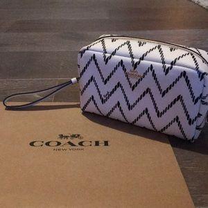 Coach Bags - COACH Cosmetic Bag. Black/Cream w/ gold detail.